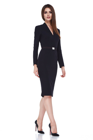 Beautiful sexy brunette woman business office style fashion clothes summer fall collection perfect body shape pretty face makeup smile wear black dress blouse skirt casual accessory glamour model.