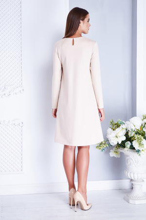 Fashion beauty model sexy woman wear in style dress for wedding or bridesmaid high heel  happy day woman bride celebrate white room vase with flower accessory fashion style clothes casual restaurant.