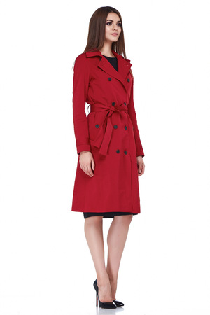 Woman wear business style clothing for office casual meeting collection accessory red cotton jacket sexy glamour fashion model beauty face long brunette hair body shape trench silk white background