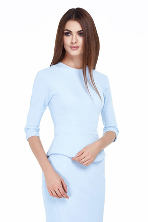 office uniform: Beautiful sexy brunette woman skinny business style dress diplomatic protocol office uniform blue color perfect body shape busy glamour lady casual style secretary stewardess hostess etiquette suit