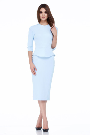 office uniform: Sexy brunette woman skinny business style dress blue color perfect body shape diet busy glamour lady casual style secretary diplomatic protocol office uniform stewardess air hostess etiquette suit