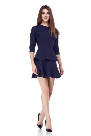 Beautiful sexy brunette woman business office style fashion clothes summer fall collection perfect body shape pretty face makeup smile wear short back dress blouse skirt casual accessory glamour model
