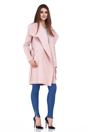 Beauty yang woman lady wear casual style for date wool coat pink color blue denim jeans shoes pretty face dark natural hair spring autumn collection glamor model fashion clothes white background.