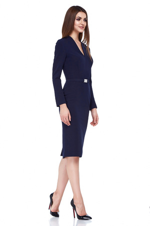 Beautiful sexy brunette woman skinny business style dress diplomatic protocol office uniform black color perfect body shape busy glamour lady casual style secretary stewardess hostess etiquette suit. Stock Photo