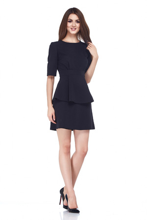 office uniform: Sexy brunette woman skinny business style dress black color perfect body shape diet busy glamour lady casual style secretary diplomatic protocol office uniform stewardess air hostess etiquette suit. Stock Photo