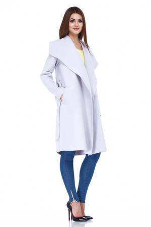 blue grey coat: Beauty yang woman glamor model fashion clothes white background lady wear casual style for date wool coat grey color blue denim jeans shoes pretty face dark natural hair spring autumn collection.