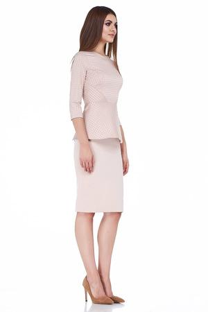 Woman model fashion style dress beautiful secretary diplomatic protocol office uniform stewardess air hostess business lady perfect body shape brunette hair wear light color suit elegance casual.
