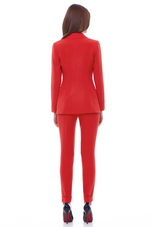 evening wear: Fashion glamour model beautiful pretty face long healthy brunette hair evening makeup wear natural organic clothes office style for business woman walk in park red suit color design perfect shape back.