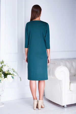 Sexy beauty woman model stand back wear green fashion dress businesswoman clothes casual style for meeting room white interior accessory shoes flower and sofa perfect body shape lady glamour model.