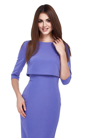 office uniform: Portrait of beautiful business woman lady style perfect body shape brunette hair wear light color suit elegance casual style secretary diplomatic protocol office uniform stewardess air hostess.