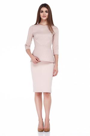 セクシーなブルネットの女性スキニー ビジネス スタイル黒ドレスの色は、ボディ形状ダイエット忙しいグラマー女性カジュアル スタイル秘書外交 写真素材