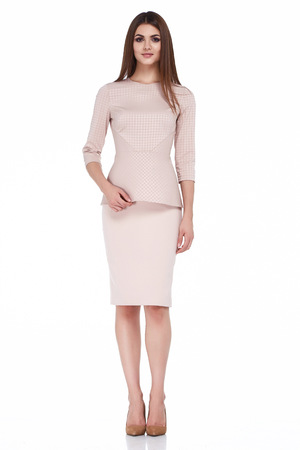 Sexy brunette woman skinny business style dress black color perfect body shape diet busy glamour lady casual style secretary diplomatic protocol office uniform stewardess air hostess etiquette suit. Banque d'images