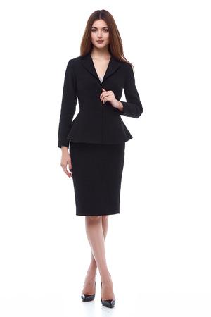 Mode-stijl vrouw perfecte brunette vorm lichaamshaar dragen zwart rokkostuum elegantie toevallig mooi model secretaresse stewardess diplomatieke protocol kantoor uniform stewardess zakelijke dame.
