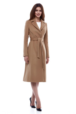 Beauty business woman model wear stylish design trend clothing natural organic wool coat trench dress outerwear casual formal office style for work meeting walk party brunette hair makeup white.