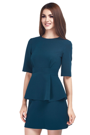 Beauty woman model wear stylish design trend clothing blue dress casual formal office style for work meeting walk party brunette hair makeup party businesswoman secretary diplomatic protocol. Stock Photo
