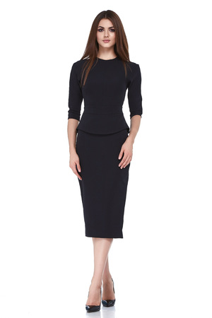 Fashion style woman perfect body shape brunette hair wear black dress suit elegance casual beautiful model secretary air hostess diplomatic protocol office uniform stewardess business lady.