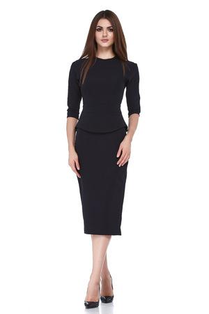 Fashion style woman perfect body shape brunette hair wear black dress suit elegance casual beautiful model secretary air hostess diplomatic protocol office uniform stewardess business lady.