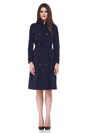 Woman wear business style clothing for office casual meeting collection accessory black wool coat jacket sexy glamor fashion model beauty face long brunette hair body shape white background.