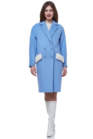 Woman wear business style clothing for office casual meeting collection accessory cashmere wool coat jacket sexy glamor fashion model beauty face long brunette hair body shape white background.