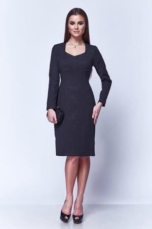 Fashion style woman perfect body shape brunette hair wear silk dress suit elegance casual beautiful model secretary air hostess diplomatic protocol office uniform stewardess business lady. Stock Photo