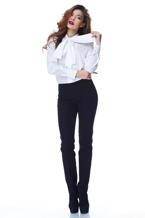 Portrait of beautiful business woman lady style perfect body shape brunette hair wear color suit white elegance casual style secretary diplomatic protocol office uniform stewardess air hostess.