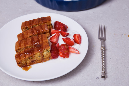 dulcet: White ceramic china plate silver steel fork slices of carrot apple pie cake dessert sweet watered caramel and fresh berry strawberry and ice cream delicious healthy organic nutritious breakfast food.