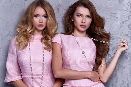 Portrait of two woman wear business style clothing for office casual meeting collection accessory pink silk suit sexy glamour fashion model beauty face long brunette blond hair body shape cosmetic.
