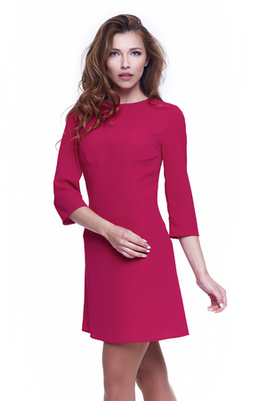 Beautiful sexy woman pretty face makeup wear fashion style clothes pink color suit dress accessory and shoes code glamour model office long brunette hair catalog trendy design white background.