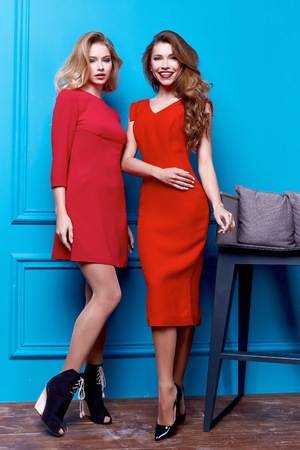 Two beautiful sexy business woman lady style perfect body shape brunette hair wear red color dress elegance casual style glamour fashion  accessory shoes jewelry interior room passion chic party.