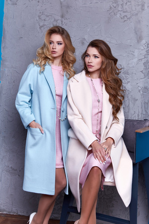Two beautiful business woman lady style perfect body shape brunette hair wear blue white pink dress coat jacket elegance casual style glamour fashion bag accessory shoes jewelry interior luxury party.