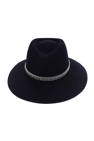 Isolated black wool hat on white background fashion style trendy accessory casual wear clothes classic collection catalog.