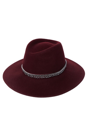 Isolated dark red wool hat on white background fashion style trendy accessory casual wear clothes classic collection catalog