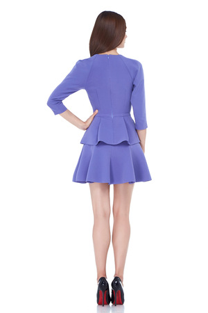 Beautiful sexy brunette woman skinny business style dress diplomatic protocol office uniform lilac color perfect body shape busy glamour lady casual style secretary stewardess hostess etiquette suit.