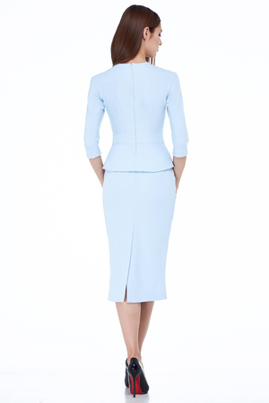 Woman model fashion style dress beautiful secretary diplomatic protocol office uniform stewardess air hostess business lady perfect body shape brunette hair wear light color suit elegance casual.