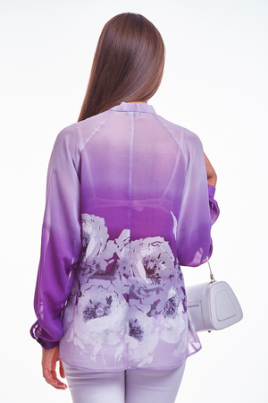 White background studio beautiful woman lady spring autumn collection glamor model fashion clothes wear casual style for date silk suit blouse skirt dress pretty face dark natural hair accessory bag. Stock Photo
