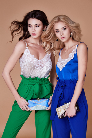 Two sexy beautiful elegant woman lady natural fashion style clothes casual formal lace silk romantic meeting date blouse and pants party style glamour model trend accessory bag brunette blond make up. Stock Photo