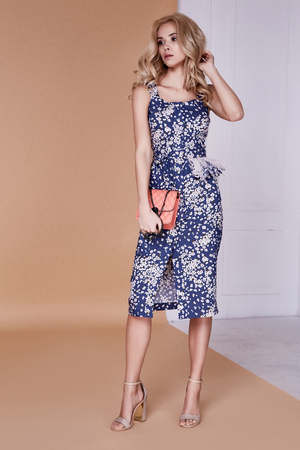 Beautiful sexy blond curly hair pretty face slim shape fashion model wear midi dress style for date meeting celebration party red carpet high hills hand bag studio catalogue body care skin diet.