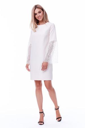 Blond haar vrouw slijtage office korte jurk code stijl vrij mooi gezicht model pose catalogus van mode kleding zakenvrouw witte achtergrond studio secretaris stewardess, stewardess uniform Stockfoto