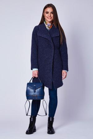 Schöne sexy attraktive junge Frau mit dem dunklen Haar, das einen organischen Anzug der strengen Anzugswollen trägt, beschuht Kleidung für Herbstspaziergang-Geschäftstreffenzubehör-Seifenschaumtasche. Standard-Bild - 89499898