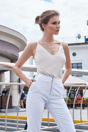 Model girl posing outdoor