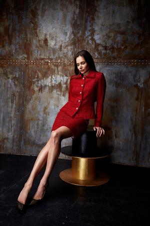Model girl posing in photography studio Stok Fotoğraf