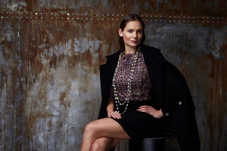 Model girl posing in photography studio Stock Photo