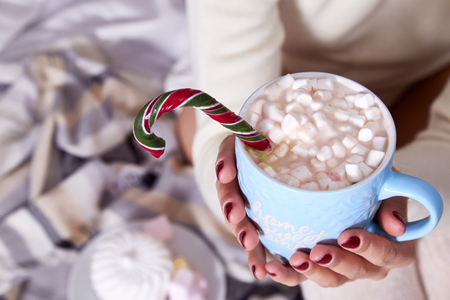 Beautiful Merry Christmas morning woman drink cup sweet hot cacao with marshmallow eat lollipop candy cane wear home knitted wool plaid laptop New Year eve read book winter mood manicure nail polish. 版權商用圖片 - 90756122