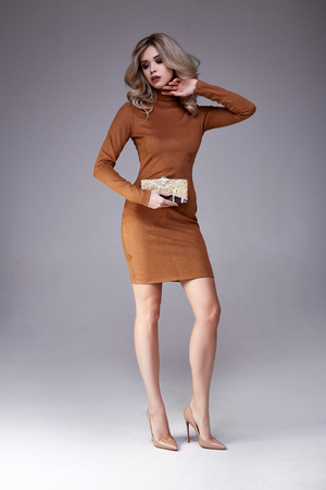 Beautiful sexy woman pretty face makeup wear fashion style clothes brown velour dress accessory lather shoes bag code glamour model office long blonde hair catalog trendy design businesswoman elegant leg.