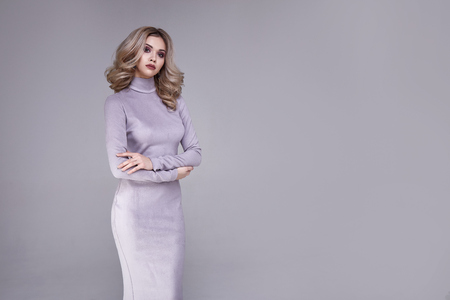Portrait of beautiful sexy woman wear business style clothing for office casual meeting collection accessory skinny dress sexy glamor fashion model beauty face cosmetic makeup blond hair body shape.