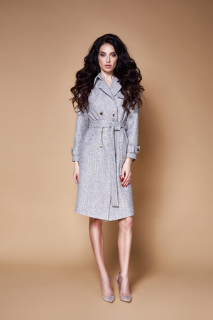 Beautiful sexy woman wear business style clothing for office casual meeting collection accessory cashmere wool coat jacket sexy glamor fashion model beauty face long brunette hair jewelry earrings. Stock Photo