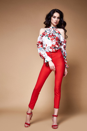 Sexy beauty woman pretty face tan skin wear silk blouse red pants skinny body shape makeup cosmetic summer collection studio catalog brunette curly hair clothes for date meeting walk party fashion. Stock Photo - 100857440