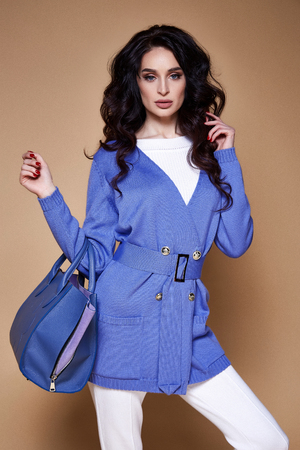 Portrait of beautiful sexy pretty woman makeup cosmetic for face care hair style beauty salon accessory bag jewelry earrings luxury life wear blue cotton knitted jacket brunette shampoo fashion model. Stock Photo