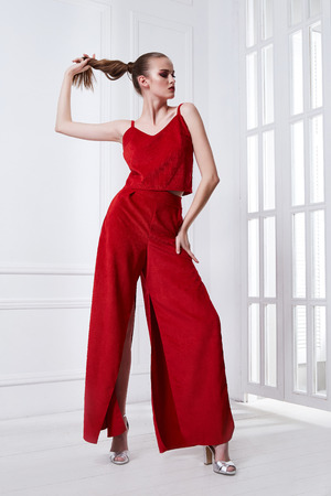 Beautiful sexy young business woman brunette hair with evening makeup wearing red dress suit blouse and pants high heels shoes business clothes for meetings and walks summer collection accessory bag. Stock Photo - 100902089