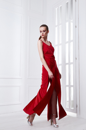 Beautiful sexy young business woman brunette hair with evening makeup wearing red dress suit blouse and pants high heels shoes business clothes for meetings and walks summer collection accessory bag.